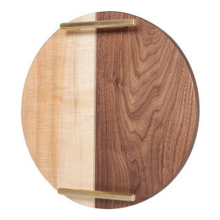 Circle Walnut and Maple Service Tray For Sale