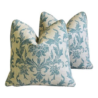 Designer Pintura Studios Hand-Printed Feather/Down Pillows - A Pair For Sale