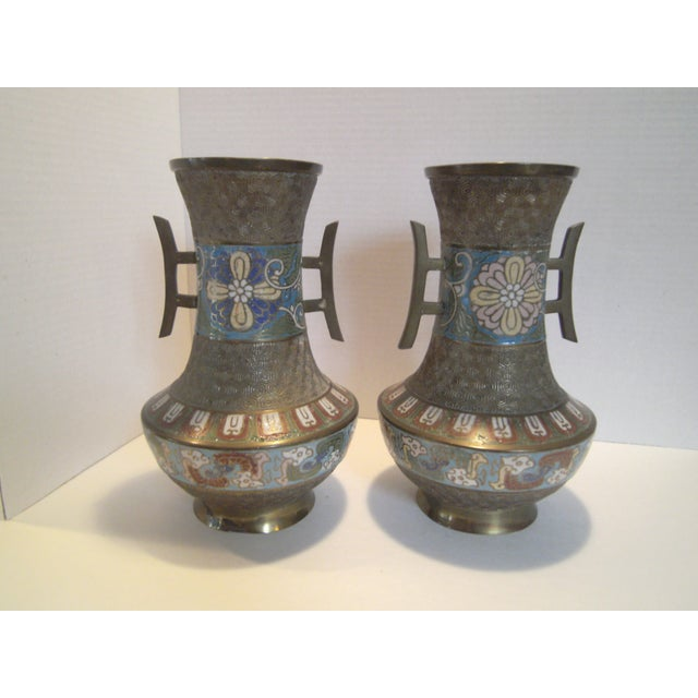 Antique Bronze Champleve Urns - A Pair - Image 2 of 11