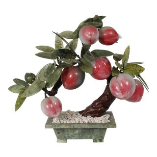 Vintage Hand-Carved Jade & Solid Stone Bonsai Tree For Sale