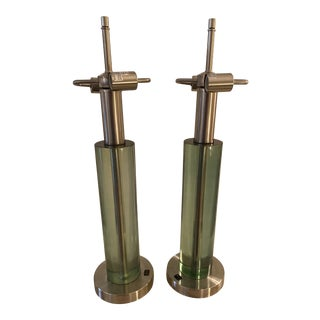 Van Teal Pair of Cylinder Tables Lamps For Sale