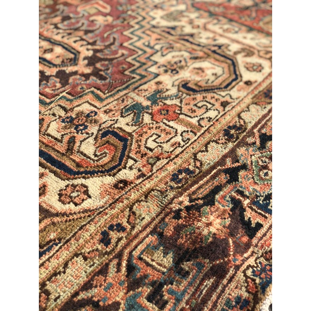 Textile 1940s Vintage Persian Heriz Large Area Rug - 9′5″ × 11′10″ For Sale - Image 7 of 13