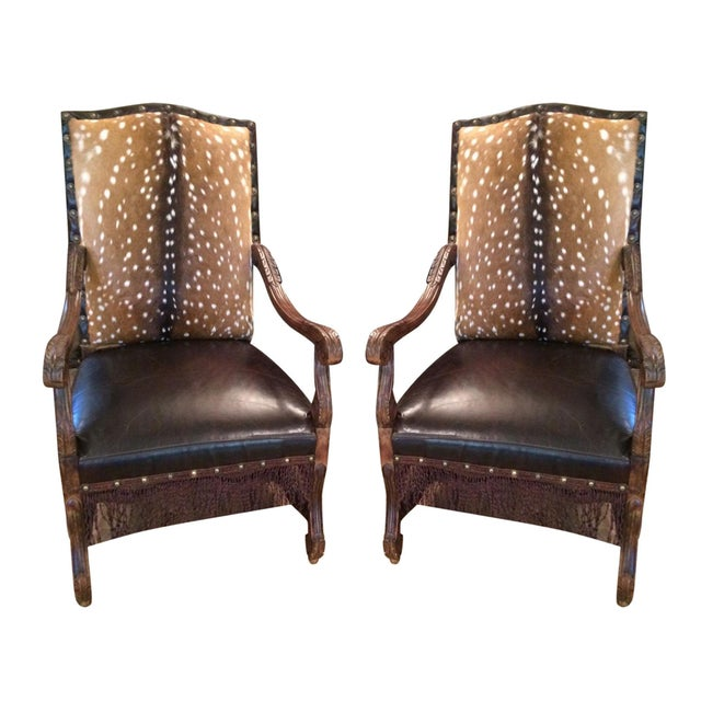 Axis Deer Hide & Leather Armchairs - Pair For Sale