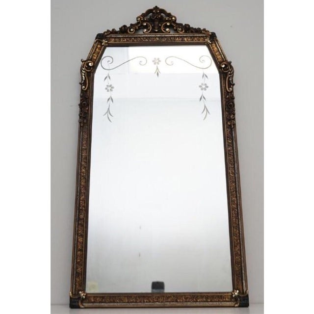 Gesso Early 20th C. Etched Glass and Gesso Mirror For Sale - Image 7 of 7