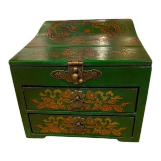 Green Asian Jewelry Box For Sale