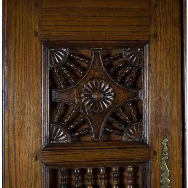 19th Century Jacobean Carved Oak Wardrobe For Sale - Image 10 of 12