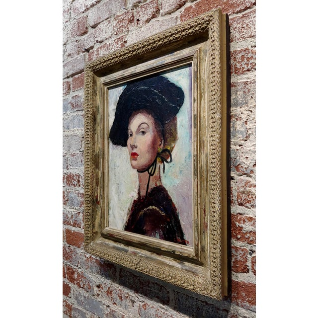 Canvas C. Dexter Portrait of a Stylish Woman With Black Hat Oil Painting For Sale - Image 7 of 9