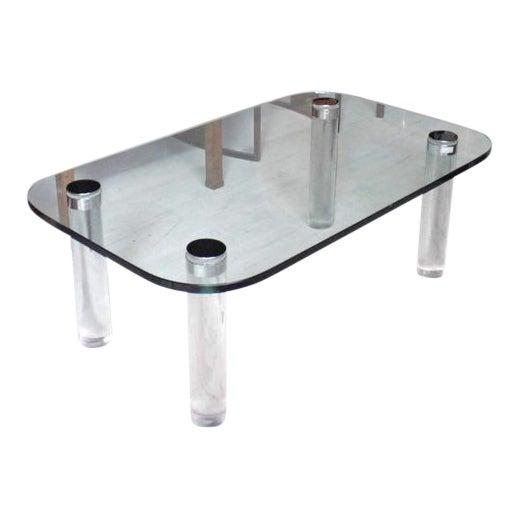 Glasstop Lucite Legs Coffee Table For Sale