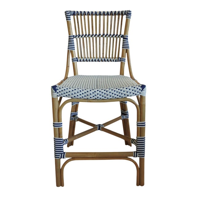 Madrid Counter Chair, Navy Blue, Rattan For Sale