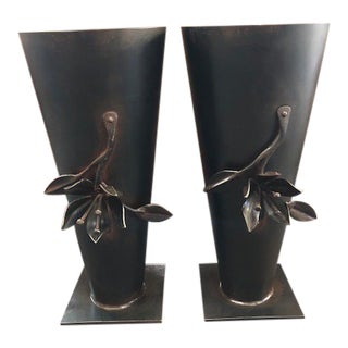 Jan Barboglio Wrought Iron Vases - a Pair For Sale