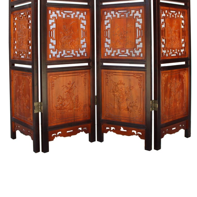 Chinese Scenery Carving 2 Brown Tone Wood Panel Floor Screen Display Shelf For Sale In San Francisco - Image 6 of 10