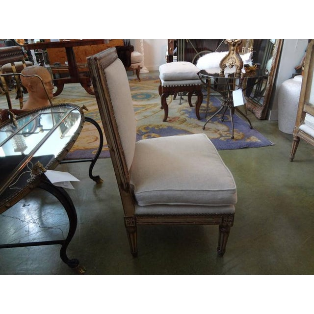 Brass 19th Century French Louis XVI Style Linen Upholstered Children's Chairs - a Pair For Sale - Image 7 of 8