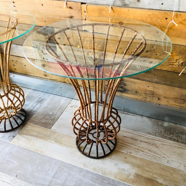 Rustic Mid-Century Wrought Iron End Tables - A Pair For Sale - Image 3 of 9