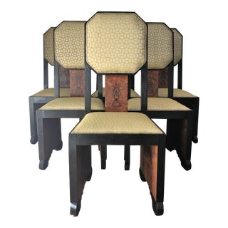 Mid-Century Dining Chairs in Burl Wood. Art Deco Style