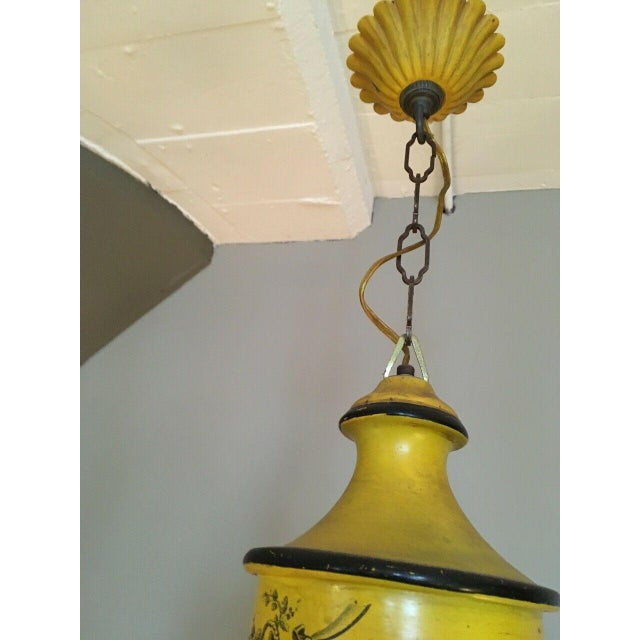 1920s Early 20th Century Regency French Yellow Painted Tole Five Light Chandelier For Sale - Image 5 of 13
