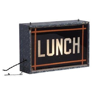 Double Sided Illuminated Lunch Sign Circa 1940