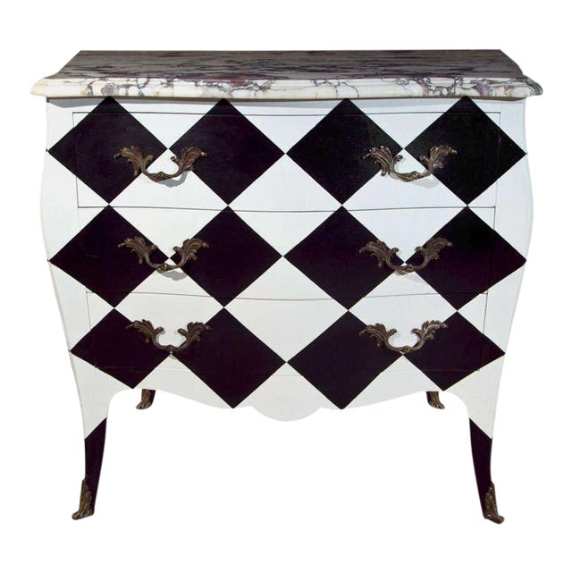 French Louis XV Painted Marble Top Commode For Sale