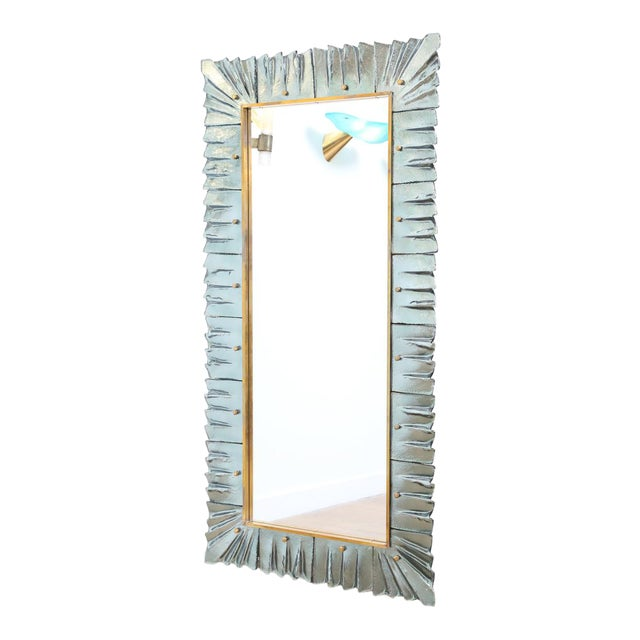 Large Rectangular Murano Sea Green Glass Framed Mirror For Sale