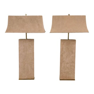 Karl Springer Beige Suede Lamps - A Pair