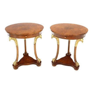 Pair of Round Burl Wood French Empire Gold Gilt Carved Eagles Stands End Tables For Sale
