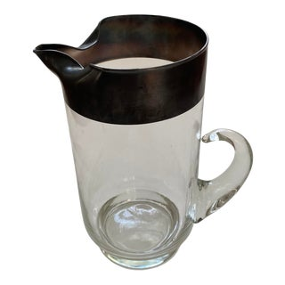 1950s Dorothy Thorpe Glass Silver Rim Pitcher With Handle For Sale