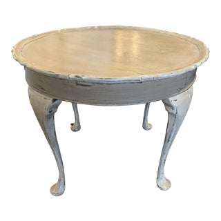 Taupe Grey Distressed Painted Round Side Table For Sale