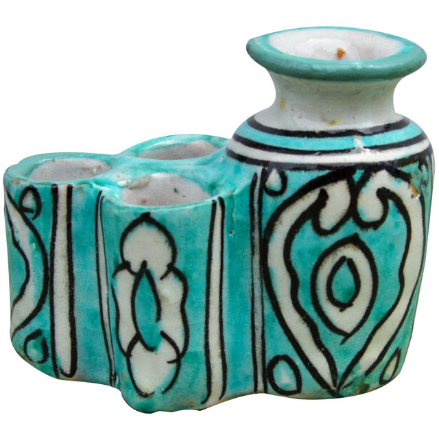 Moroccan Ceramic Inkwell & Candle Holder For Sale - Image 9 of 9