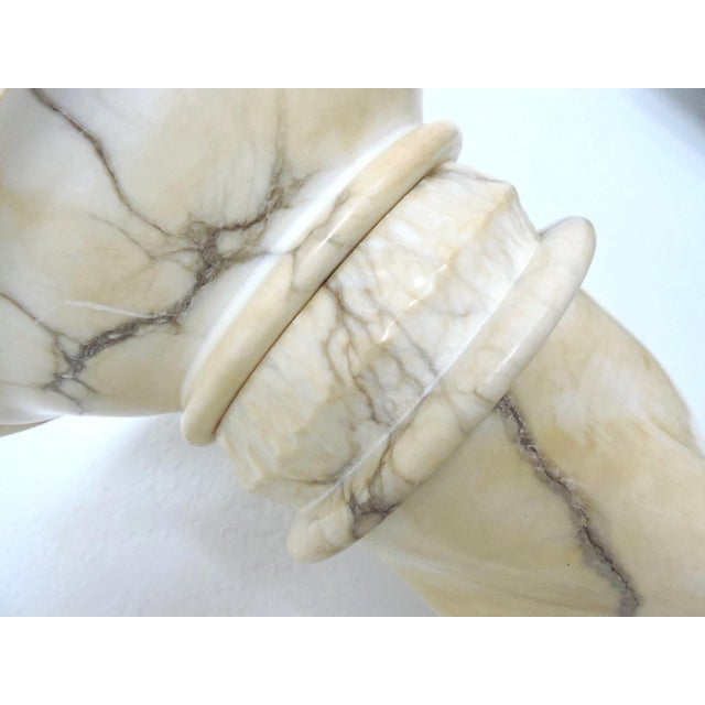 Mid 20th Century Classical Vintage Two Piece Alabaster Pedestal, Pillar or Column For Sale - Image 5 of 6