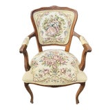 Image of 1950s Vintage Needle Point Cushion Accent French Chair For Sale