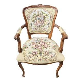 1950s Vintage Needle Point Cushion Accent French Chair For Sale