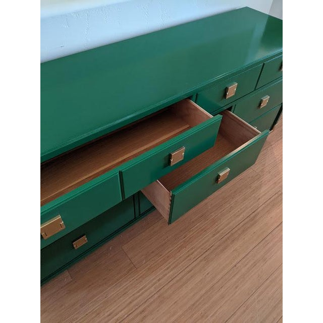 1970s Thomasville Campaign Gloss Green Dresser Credenza For Sale In Phoenix - Image 6 of 9