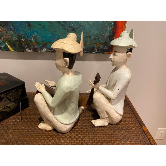 1950s Thailand Wooden Musician Figurines - a Pair For Sale - Image 5 of 8