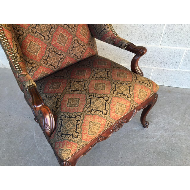 Late 20th Century Vanguard Sultana French Provincial Wing Back Arm Chair For Sale - Image 5 of 9