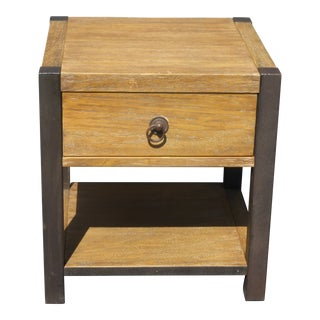Vintage Danish Modern Single Drawer Two Tone Nightstand or End Table For Sale