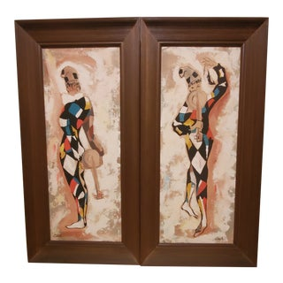 Mid Century Modern Paintings by Carlo - A Pair For Sale