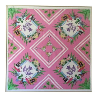 Framed Pink & Green Charleston Scarf