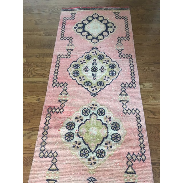 Pink Vintage Turkish Oushak Pink Faded Tribal Boho Runner Rug 2'6'' X 9'7'' For Sale - Image 8 of 11