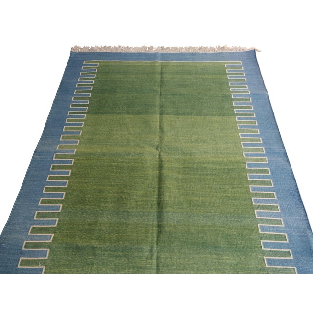 Casa Cosima Handmade Cotton Rug, Green with Blue Geometric Border and Cream Fringe 3'x4' For Sale - Image 4 of 7