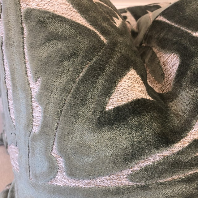 """Custom pair of 22"""" pillows covered in a Cut Velvet On Woven Cotton fabric in a large scale """"Graffiti"""" pattern. Pillows..."""