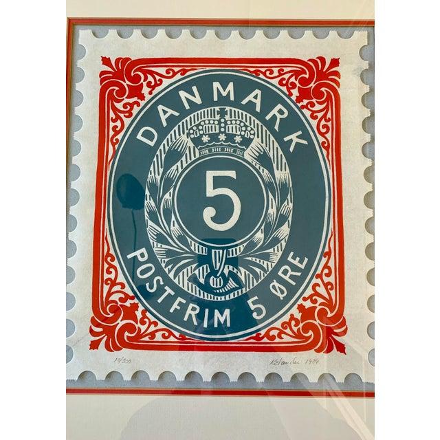 Vintage Framed Denmark Stamp, Signed and Numbered For Sale - Image 4 of 6