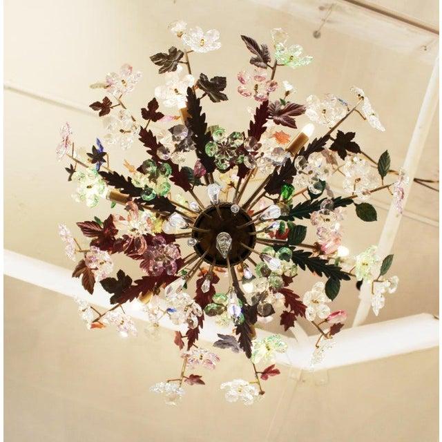 1970s Italian Mid-Century Modern Murano Glass Flower Bouquet Chandelier For Sale - Image 9 of 13