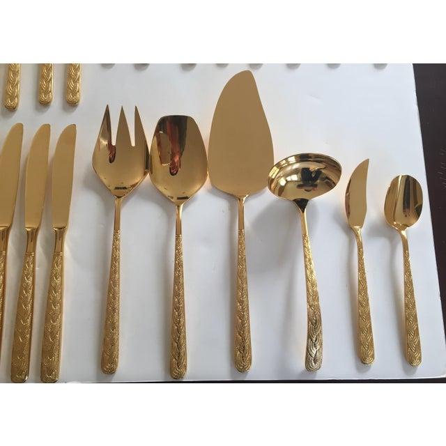 Hollywood Regency Gold Plated Flatware Set - Service for 8 For Sale - Image 10 of 11