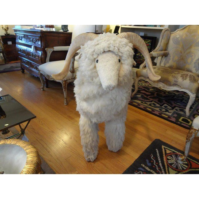Wood 1960's Claude Lalanne Inspired Figural Shearling Sheep Sculpture For Sale - Image 7 of 12