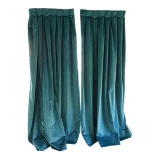 Custom Blue Green Velvet Curtains - a Pair For Sale