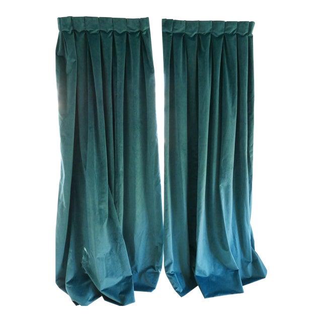 Custom Blue Green Velvet Curtains - a Pair For Sale