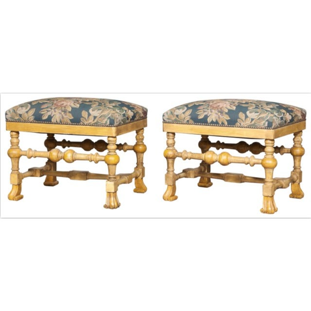 1980s Late 20th Century William and Mary Style Yellow-Painted Stools - a Pair For Sale - Image 5 of 5