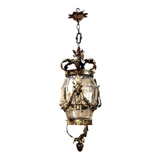 Antique Bronze & Crystal Lantern Chandelier For Sale