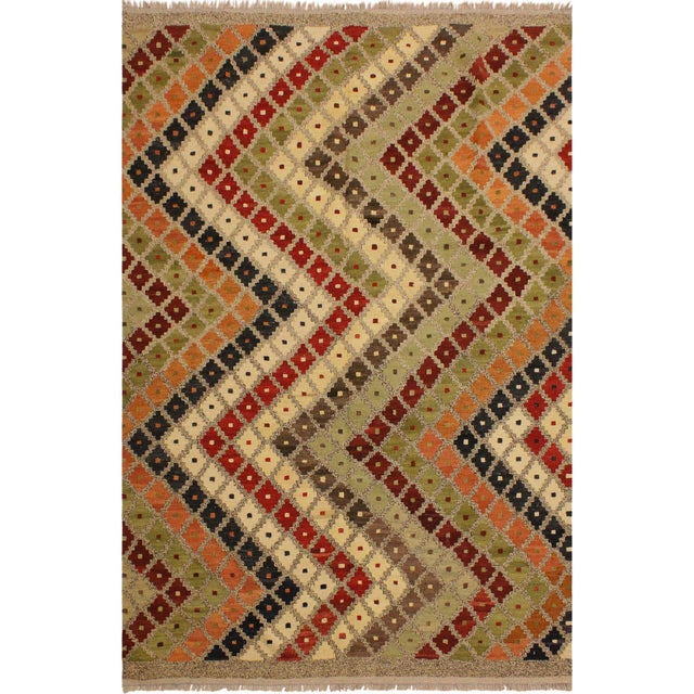 Beige Abstract Tribal Rolanda Gray/Black Hand-Woven Kilim Wool Rug -5'3 X 6'7 For Sale - Image 8 of 8