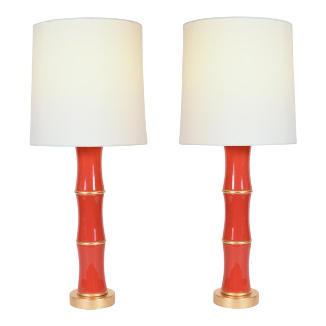 Orange Porcelain Table Lamp With Gold Wood Base - a Pair For Sale