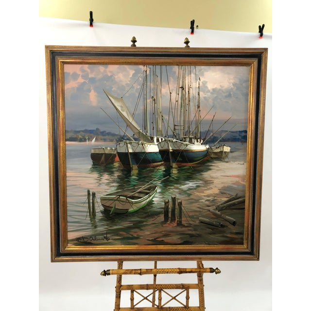 Modern Big Bold Canvas Painting of Harbor Sailboats For Sale - Image 10 of 10